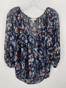 Joie Womens Small Blue Floral Print Long Sleeve V Neck Top