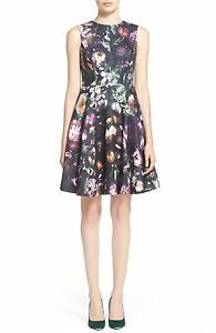 b28a83ce870 NEW TED BAKER LONDON Inesia Floral Print Fit   Flare DRESS SIZE 0 (2 ...