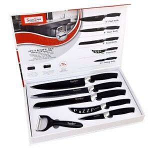 Set 5 coltelli neri da cucina in acciaio manico antiscivolo + pelapatate BLACK