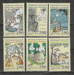 NEUF-YT-2958-2959-2960-2961-2962-2963-SERIE-Complete-1995-Fable-de-La-Fontaine