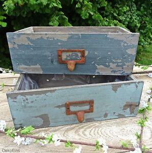 2-x-Deko-Schublade-Set-Antik-Maritim-Vintage-Deko-Pflanztopf-Shabby-Blumentopf
