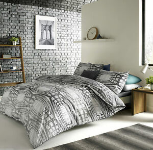 Aspen Geometric Design Duvet Cover Quilt Cover Set Bedding Charcoal