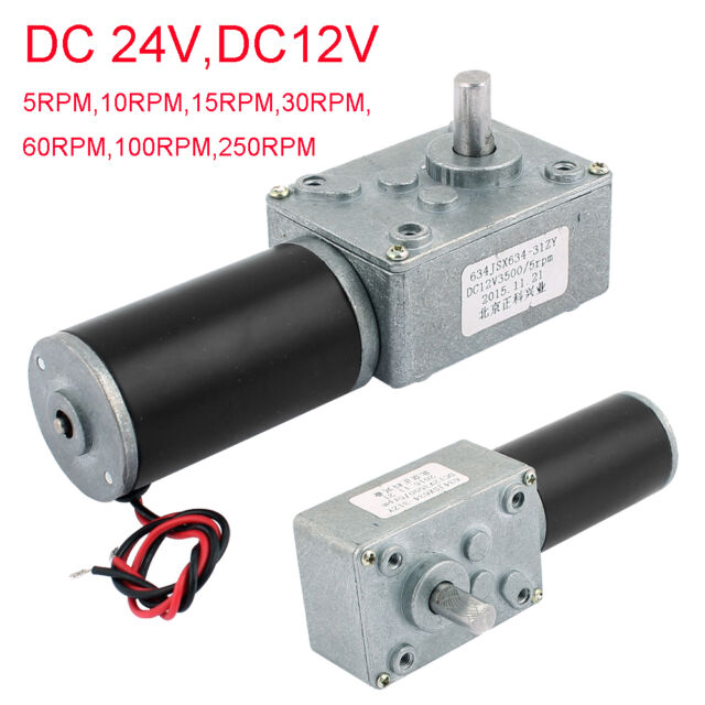 DC 24V/12V 5-250RPM Turbo Worm Geared Motor Dual Shape Shaft Electric Power
