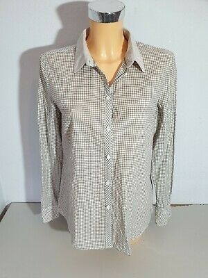 esprit damen hemd bluse gr. 36 khaki - weiß kariert