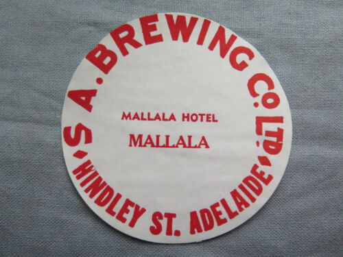 SA BREWING Co Ltd MALLALA HOTEL BEER KEG LABEL c1970s SOUTH AUSTRALIA