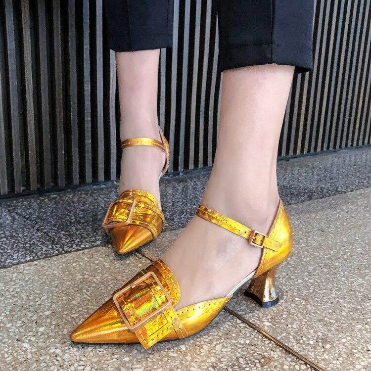 Women Metal Buckle Kitten Heels Pumps shoes Fashion Ladies Pointed Toe Sandals