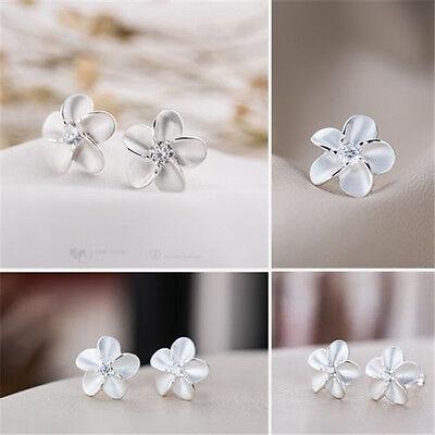 New Hot Fashion Women's Girl Silver Flower Type Ear Stud Earrings Earring