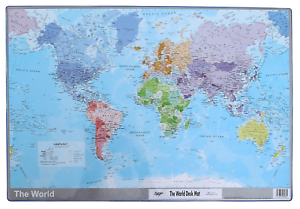 World map atlas desk mat 590 x 400mm durable writing pad mouse image is loading world map atlas desk mat 590 x 400mm gumiabroncs Image collections