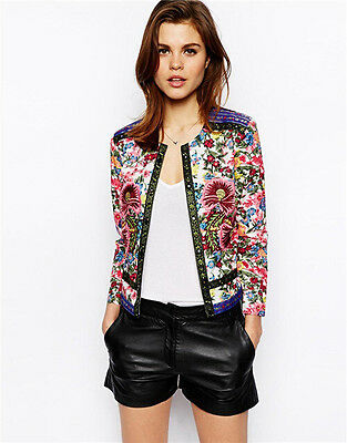New Vintage Retro Women's Embroidery Jacquard Short Coat Cardigan Jacket Tops