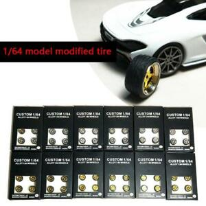 1 64 Scale Model Car Wheels 1 64 Model Car Parts Alloy Wheels Rubber Tire 1 Set Ebay