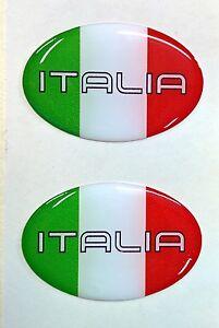 2x 3d Oval En Dôme Italea Drapeau Autocollants Italia Tricolore Pour Casque De Moto Voiture-afficher Le Titre D'origine
