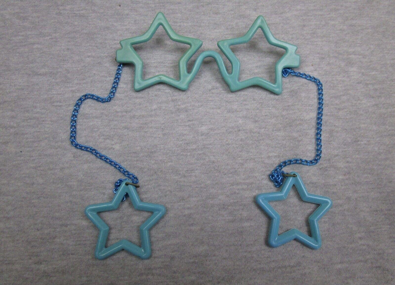 Vintage Kids Plastic Star Shaped Novelty Glasses and Star Earrings