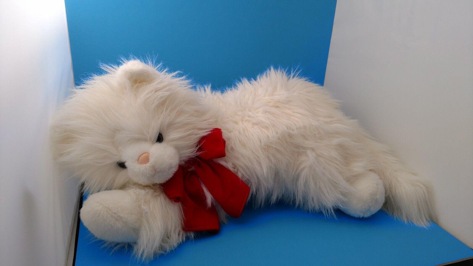 Large 24 Commonwealth Weiß Persian Kitty Cat Blau Eyes ROT Bow Plush Valentines