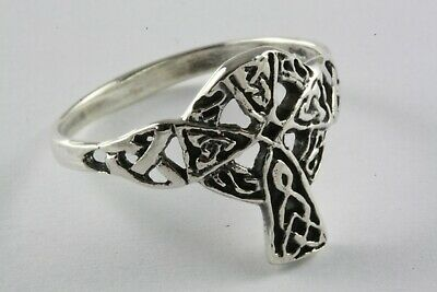 Systematisch Keltischer Kreuz Ring Keltischer Knoten Biker Ring 925 Silber Silberring / 076