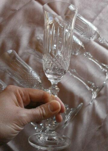 """6 à 12 flûtes à champagne cristal  /"""" Artisanat de Lorraine /"""" modèle proche Tommy"""