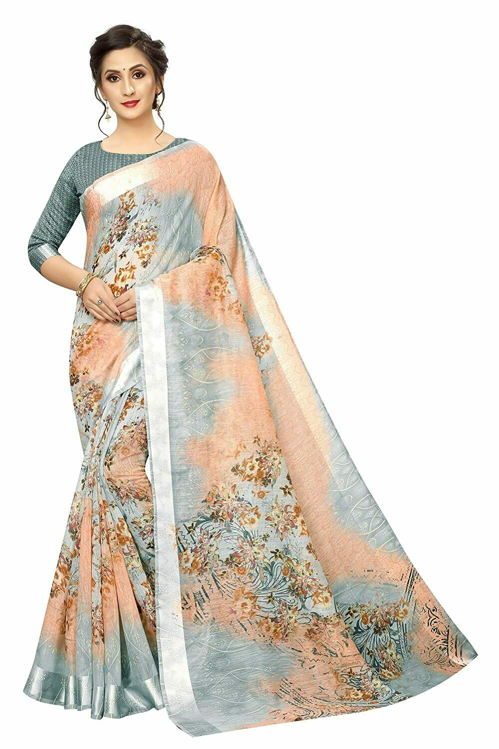 Indian Women's Digital Linen Saree with Unstitched Blouse Piece (DiGiMusty)PB