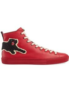 Details about NEW $730 GUCCI RED BLACK PANTHER LEATHER WEB HIGH TOP SHOES  SIZE 12