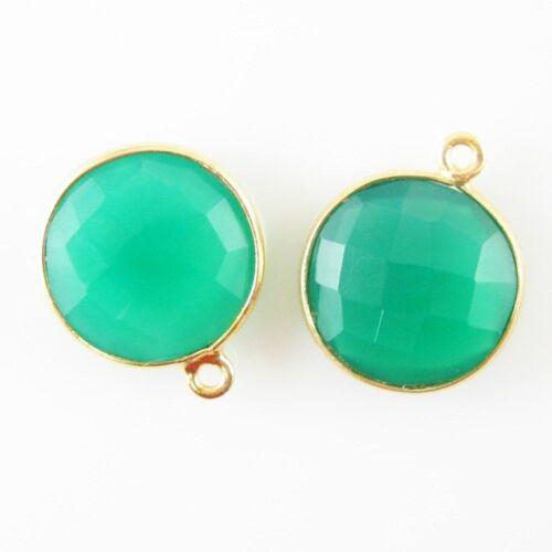 Green Onyx Sold Per 2 Pcs 14mm Faceted Coin Shape Bezel Gemstone Pendant
