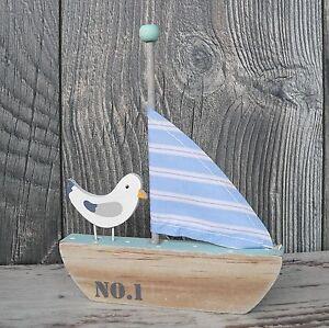 Segelboot m we segelschiff boot schiff deko maritim braun dekoschiff 15cm holz ebay - Dekoartikel meer ...