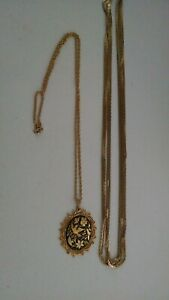VINTAGE-GOLD-PLATED-NECKLACE-AND-WITH-PENDANT-QTY-2-NICE-PIECES
