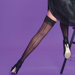 SEAMED-Lace-Black-Hold-Ups-with-Backseam-Vintage-Retro-style-Medium-One-Size