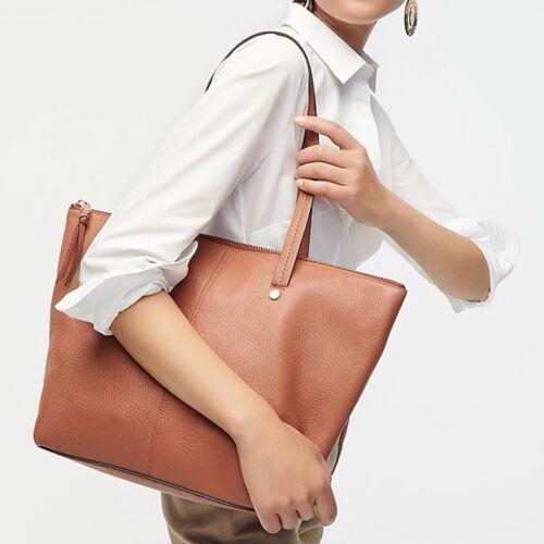 Details about  /J Crew NWT $188 Devon Zip-Top Large Leather Tote Handbag Purse in Black