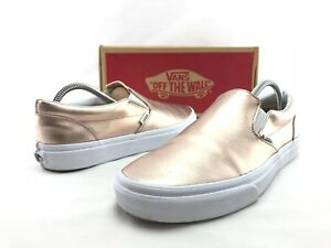 Vans Classic Slip On Women s Metallic Rose Gold Leather Sneakers US ... 10621cfbc