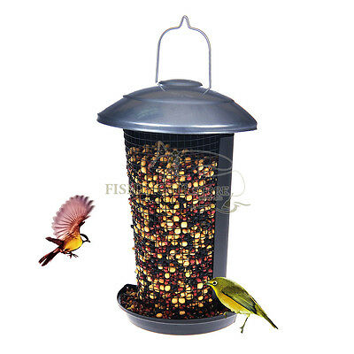 Metal Window Hanging Wild Bird Seed Feeder Outdoor Garden Easy Fill Birdfeeder