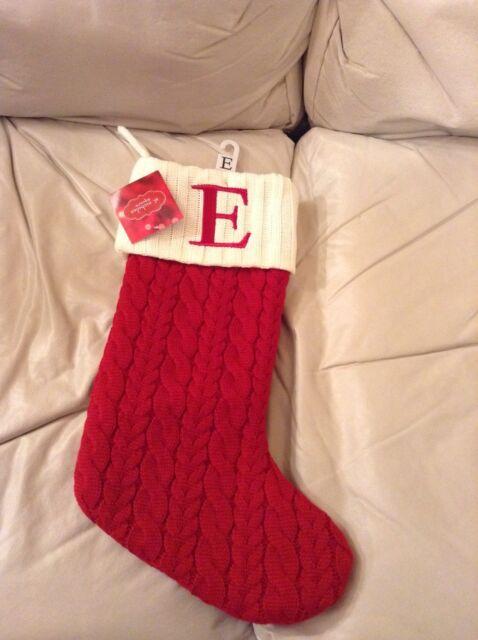 nicholas square 21 knit christmas stocking monogram letter e