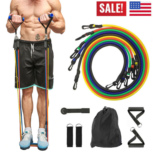 11-Piece Fitness Bands Gym Band Resistance Band Tube Yoga Sports Latex Band MA