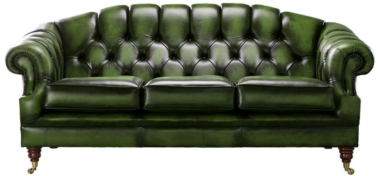 Chesterfield Victoria 3 Seater Antique, Green Leather Furniture