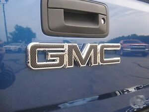 2014 15 16 17 GMC CANYON CARBON FIBER REAR TAILGATE DECAL EMBLEM OVERLAY DIY | eBay