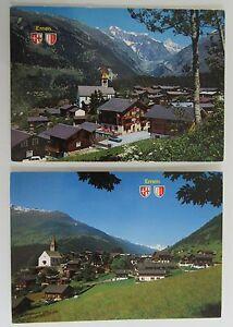 Postkarten-Lot-Schweiz-2x-ERNEN-Kanton-Wallis-AK-Helvetia-Briefmarken-Suisse-AK