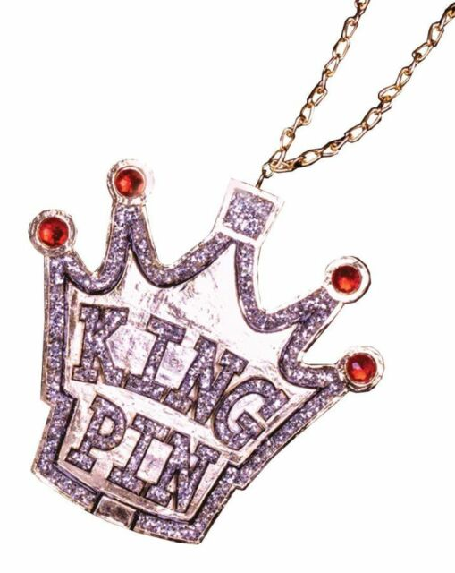 Medallion Rapper King Pin Adult Mens Fancy Dress Costume Jewellery Necklace,  On