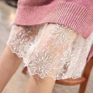Damen-hohe-Taille-Spitze-Stoff-Rock-Rueschenrock-Schwarz-Petticoat-2-Farben-Neu