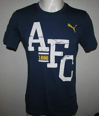 BOYS PUMA OFFICIAL ARSENAL FANS BLUE T-SHIRT VARIOUS SIZES NEW WITH TAGS