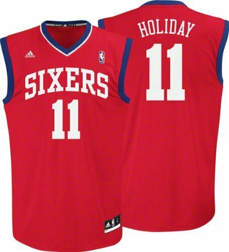 Maillot NBA Philadelphia 76ers Sixers Holiday rouge révolution 30 Basket Jersey