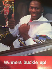 Michael Jordan Chicago Bulls Seatbelt  Poster when he had Hair Illinois
