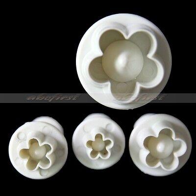 4 Pcs Plum Flower Fondant Cake Plunger Set Cookies Decorating Cutter Tool Mould