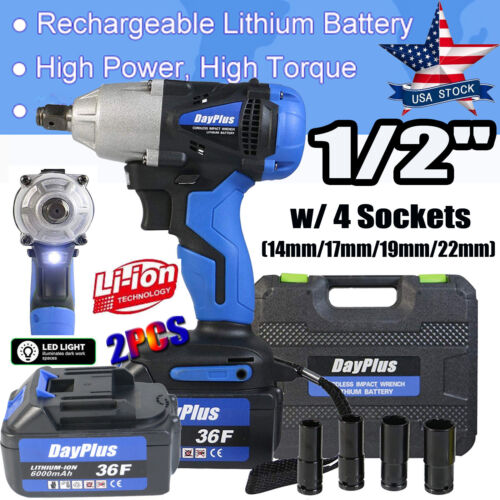 21v Cordless Impact Wrench 1//2 Inch Driver Tool 4 x Sockets with Li-ion Battery