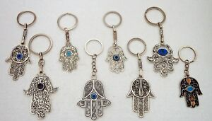 Moroccan-Metal-Hand-of-Fatima-Hamza-Key-Rings-Good-Luck-Charm-Assorted-Designs