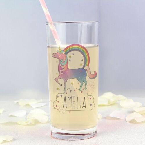 Add Girls Name Birthday Christmas Gift Personalised Unicorn Hi Ball Glass