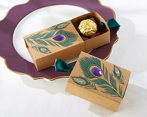 image is loading jeweled peacock kraft wedding bridal shower favor boxes