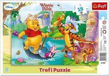 Trefl 15 Piece Baby Kids Infant Winnie The Pooh Forest Frame Jigsaw Puzzle NEW
