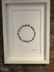 Bumble-Bees-Circle-Original-Signed-Art-Watercolour-Painting-Not-A-Print-Gift