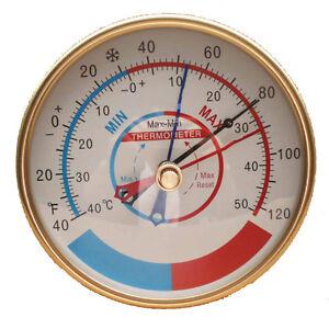 Minimum Maximum Temperature Display Aluminum Case Household Thermometer