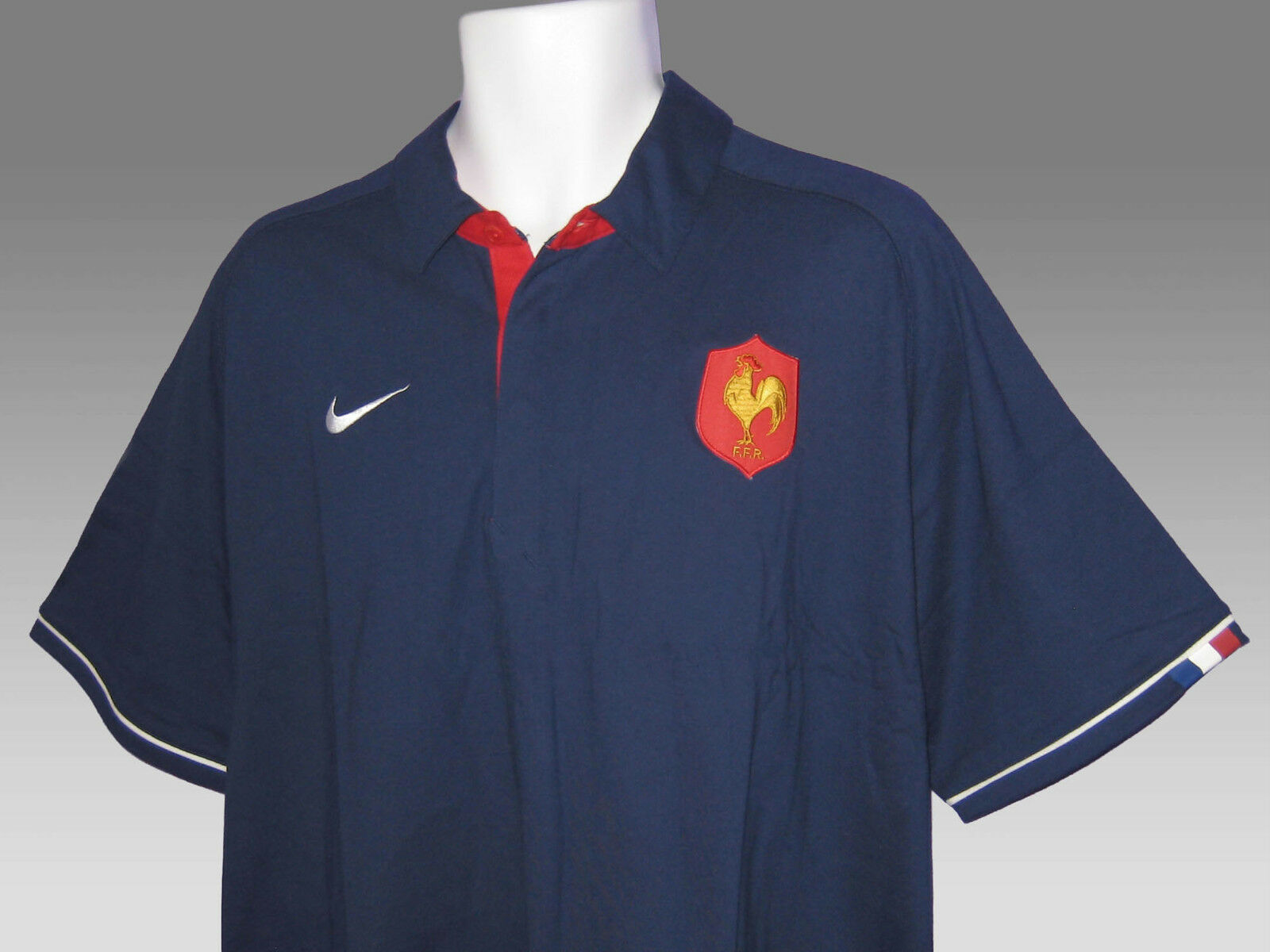 NEW Vintage Nike Francia Rugby Cotone Polo Blu Navy XXL