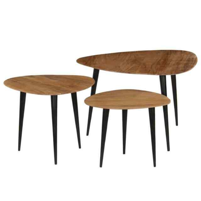 vidaXL 3x  Bois d'Acacia Massif Tables Basses Table d'Appoint Table Gigogne