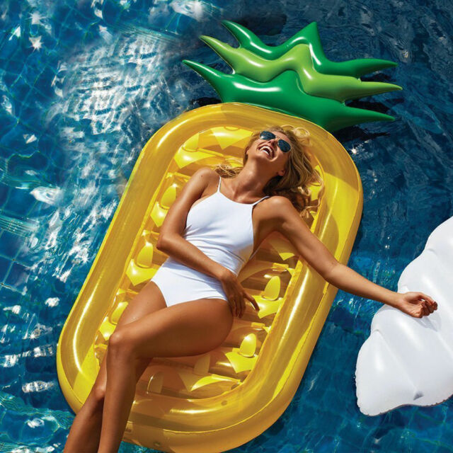 Inflatable Giant Pineapple Swimming Pool Float Air Tube Raft Bed Water Fun Toy