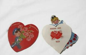2-Vintage-Unused-Valentines-Children-Roses-Violets-Sewing-Machine